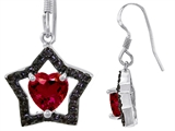 Original Star K 925 Heart Shaped Created Ruby Black Star Hanging Hook Earrings