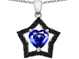 925 Sterling Silver 14K White Gold Plated Heart Shaped Created Sapphire Black Star Pendant
