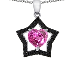 925 Sterling Silver 14K White Gold Plated Heart Shaped Created Pink Sapphire Black Star Pendant