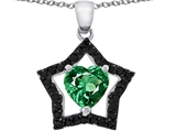 925 Sterling Silver 14K White Gold Plated Heart Shaped Created Emerald Black Star Pendant
