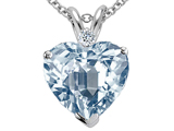 Tommaso Design 14k 8mm Heart Shaped Simulated Aquamarine and Diamond Pendant
