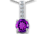 Genuine Amethyst And Genuine Cubic Zirconia Pendant