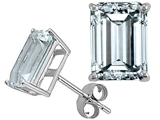 Tommaso Design Emerald Cut 7x5mm Genuine Aquamarine Earrings