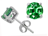 Tommaso Design™ 7mm Round Simulated Emerald earring stud