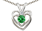 Tommaso Design Simulated Emerald and Genuine Diamond Heart Pendant