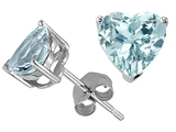 Tommaso Design Heart Shape 7mm Simulated Aquamarine Earring Studs