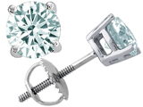 Tommaso Design Round Genuine Aquamarine Earring Studs
