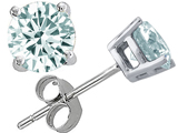 Tommaso Design 5mm Round Genuine Aquamarine Earring Studs