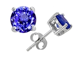Tommaso Design 7mm Genuine Round Simulated Tanzanite Earring Stud