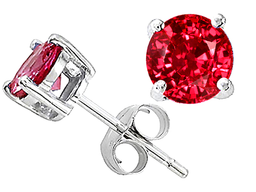 Tommaso Design Round 6mm Created Ruby Earring Stud