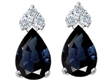 Tommaso Design™ Genuine Sapphire and Diamond Earrings