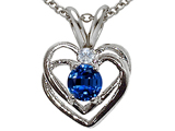 Tommaso Design™ Created Sapphire and Genuine Diamond Heart Pendant