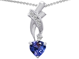 Original Star K 8mm Heart Shape Simulated Tanzanite Pendant