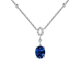 Original Star K Oval Created Sapphire Necklace