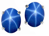 Tommaso Design Genuine Created Star Sapphire Earring Studs