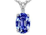 Tommaso Design Simulated Tanzanite Oval 9x7mm And Genuine Diamond Pendant