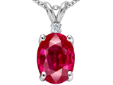 Tommaso Design Oval 9x7mm Created Ruby and Genuine Diamond Pendant