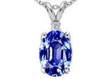 Tommaso Design Oval 8x6mm Simulated Tanzanite And Genuine Diamond Pendant