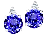 Tommaso Design Simulated Tanzanite and Genuine Diamond Earring Studs