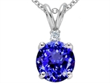Tommaso Design 8mm Round Simulated Tanzanite and Genuine Diamond Pendant
