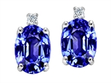 Tommaso Design Simulated Tanzanite and Genuine Diamonds Earrings