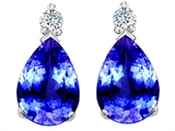 Tommaso Design™ Pear Shape Simulated Tanzanite and Genuine Diamonds Drop Earrings style: 302382