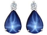 Tommaso Design™ Created Star Sapphire and Genuine Diamond Drop Earrings