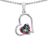 Original Star K 8mm Heart Shape Rainbow Mystic Topaz Pendant
