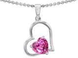 Original Star K™ 8mm Heart Shape Created Pink Sapphire Pendant