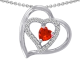 Star K™ Heart Shape Simulated Orange Mexican Fire Opal Heart Pendant Necklace style: 302426