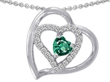 Star K™ Heart Shape Simulated Emerald Heart Pendant Necklace style: 302428