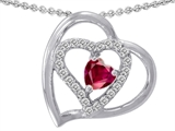 Star K™ 6mm Heart Shape Created Ruby Pendant Necklace style: 302430