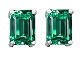 Original Star K 8x6mm Emerald Cut Simulated Emerald Earrings