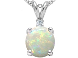 Tommaso Design 7mm Round Genuine Opal and Diamond Pendant