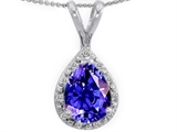 Tommaso Design™ Genuine Diamonds And Pear Shape Simulated Tanzanite Pendant