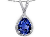 Tommaso Design Genuine Diamonds and Pear Shape Created Sapphire Pendant