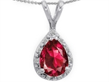 Tommaso Design Genuine Diamonds and Pear Shape 8x6mm Created Ruby Pendant
