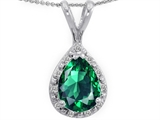 Tommaso Design™ Genuine Diamonds and Pear Shape Simulated Emerald Pendant