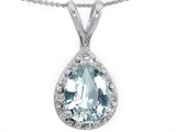 Tommaso Design™ Genuine Diamonds and Pear Shape Simulated Aquamarine Pendant