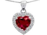Original Star K™ Heart Shaped Created 8mm Ruby Pendant
