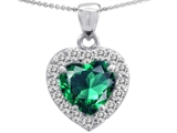 Original Star K Heart Shaped Simulated Emerald And Cubic Zirconia Pendant