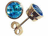 Tommaso Design Genuine Round Blue Topaz Earrings