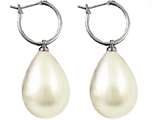 Genuine White South Sea Shell Majorca Pearl Earring Drops with 15mm Hoops