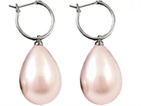 Genuine Pink South Sea Shell Majorca Pearl Earring Drops with 15mm Hoops