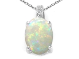Tommaso Design™ Genuine Oval Opal and Diamond Pendant