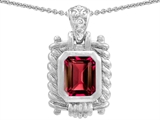 Original Star K Bali Style Emerald Cut 9x7mm Lab Created Ruby Pendant