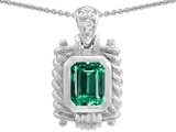 Original Star K Bali Style Emerald Cut 9x7mm Simulated Emerald Pendant