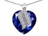 Star K™ Large 15mm Heart Shaped Created Sapphire Soul Mate Pendant Necklace style: 302599