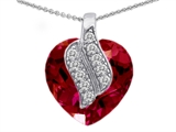 Star K™ Large 15mm Heart Shape Created Ruby Soul Mate Pendant Necklace style: 302600