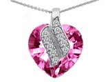 Star K™ Large 15mm Heart Shaped Created Pink Sapphire Soul Mate Pendant Necklace style: 302601